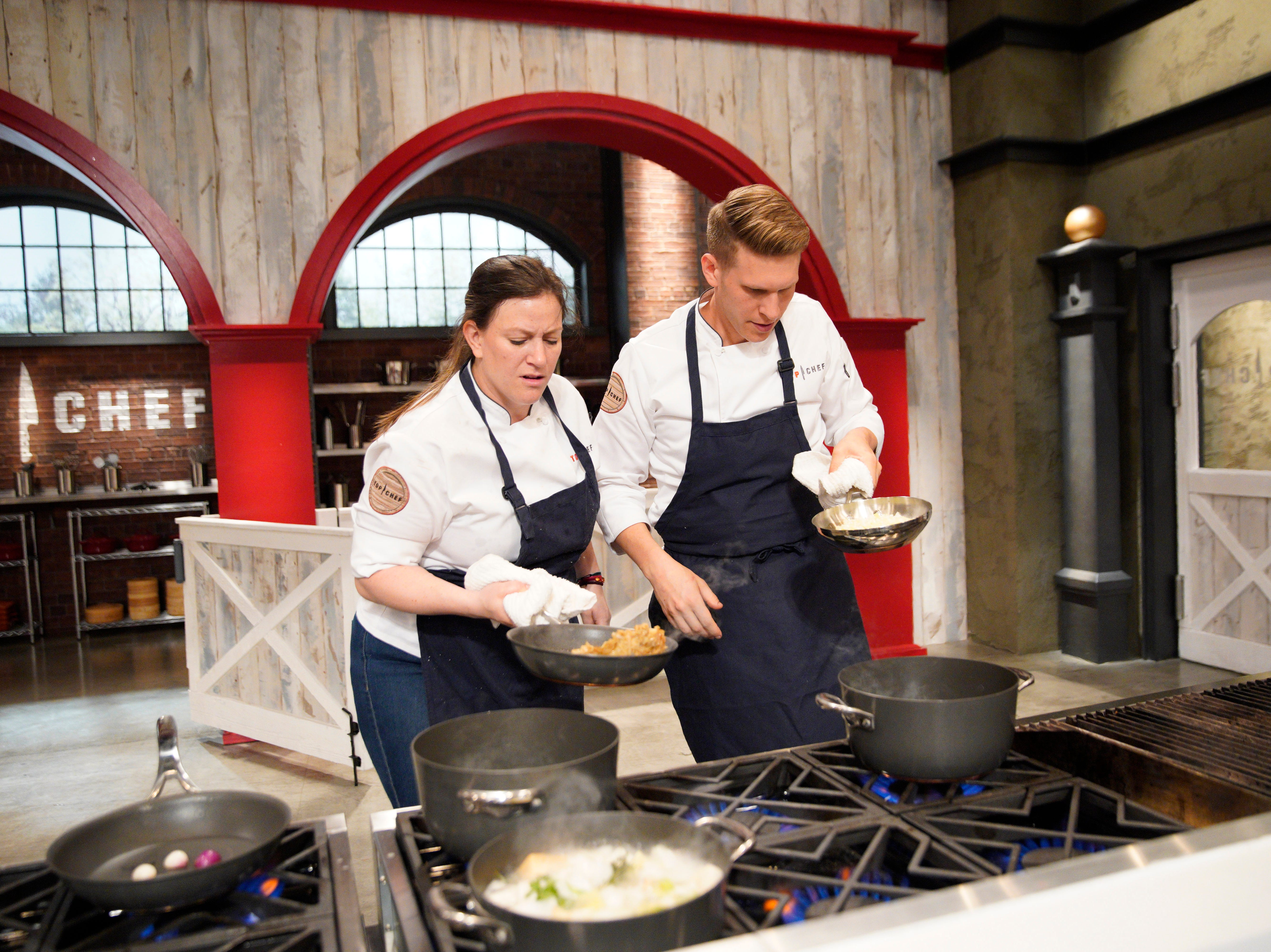 "Contestants Sara Bradley and Brandon Rosen on episode 4 of Bravo's ""Top Chef"" Kentucky."