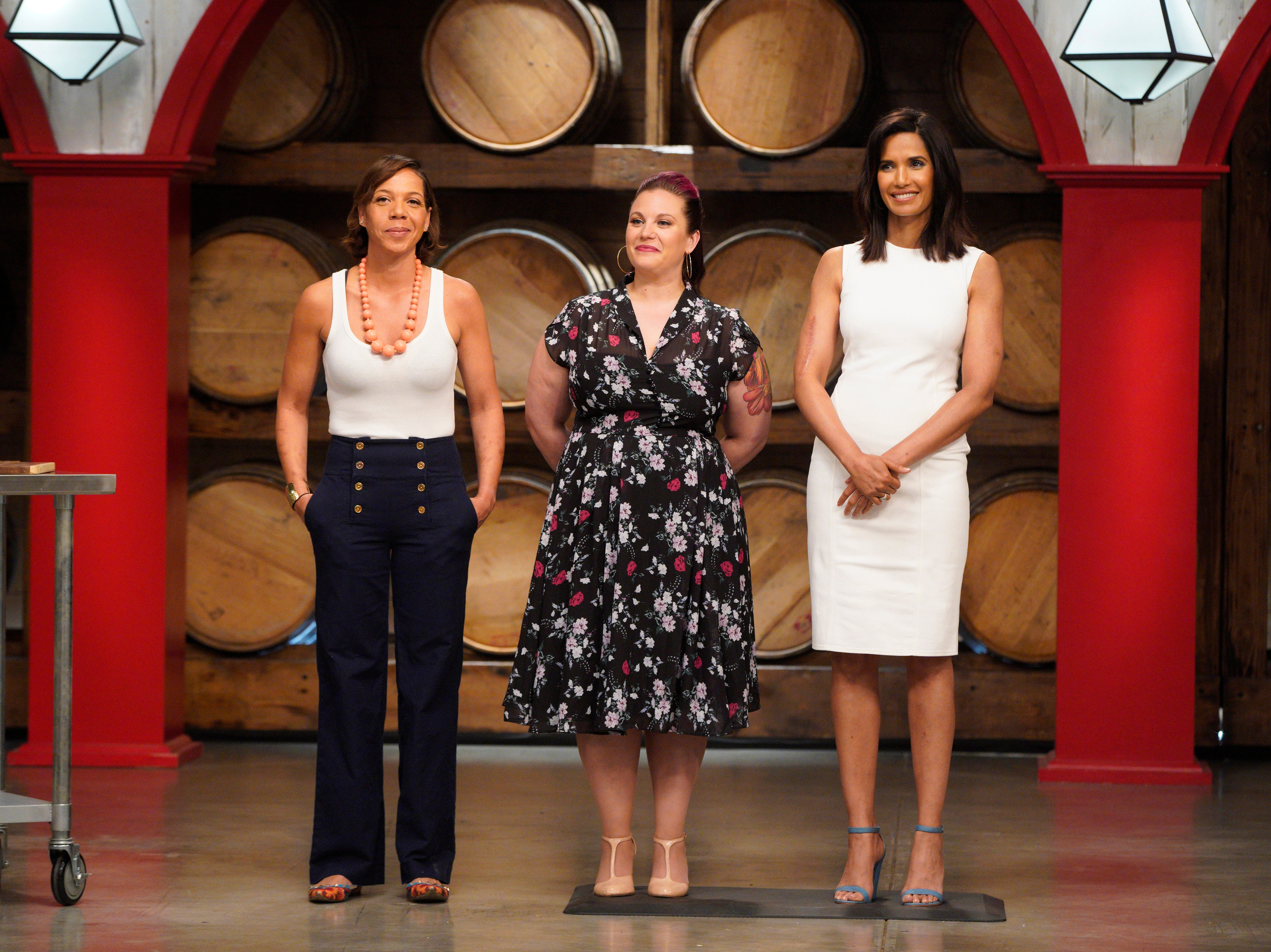 "(From left to right): Top Chef alums Nina Compton and Karen Akunowicz and host Padma Lakshmi on episode 4 of Bravo's ""Top Chef"" Kentucky."