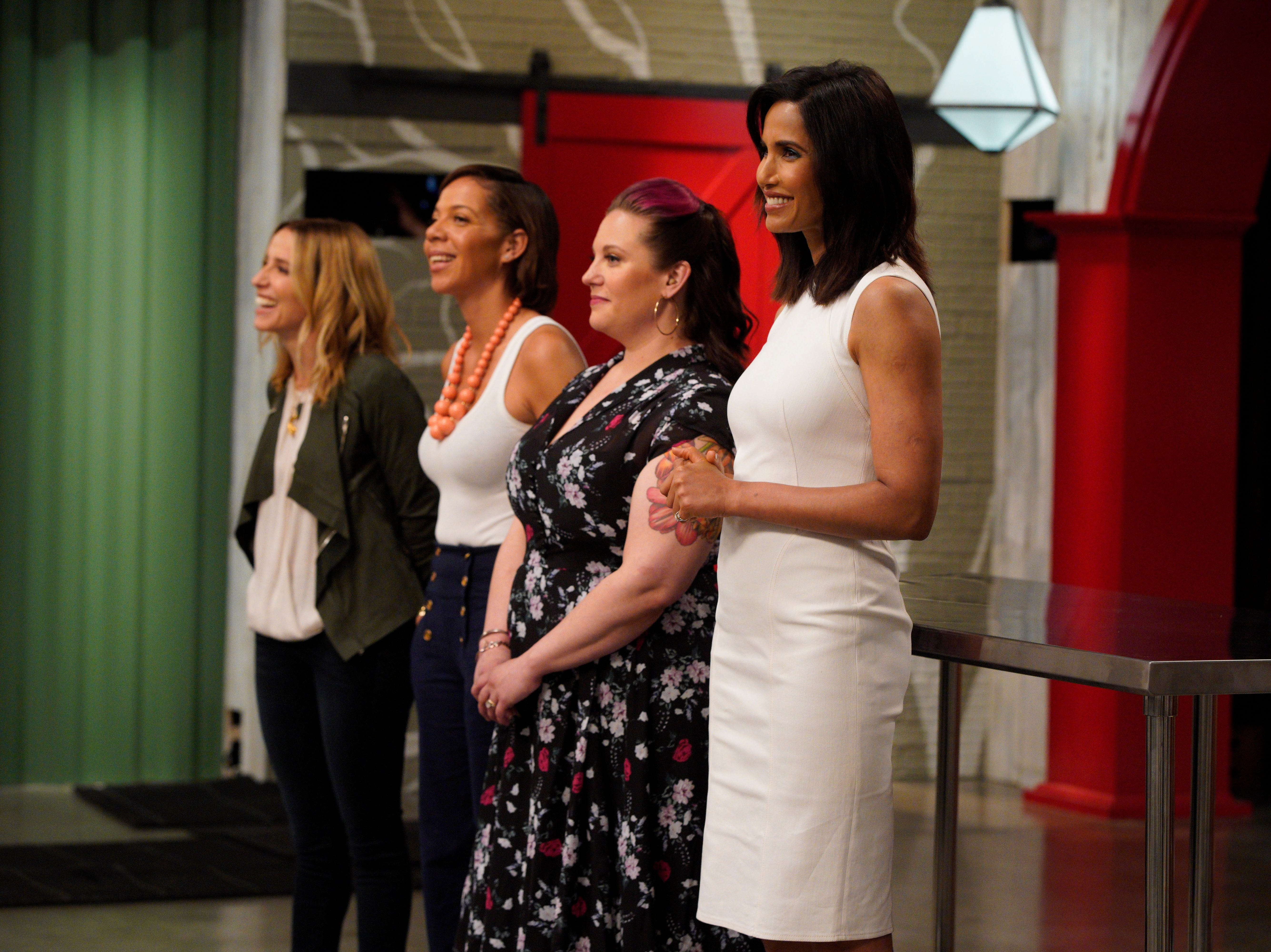 "(From left to right): Restaurateur Caroline Styne, Top Chef alums Nina Compton and Karen Akunowicz and host Padma Lakshmi on episode 4 of Bravo's ""Top Chef"" Kentucky."