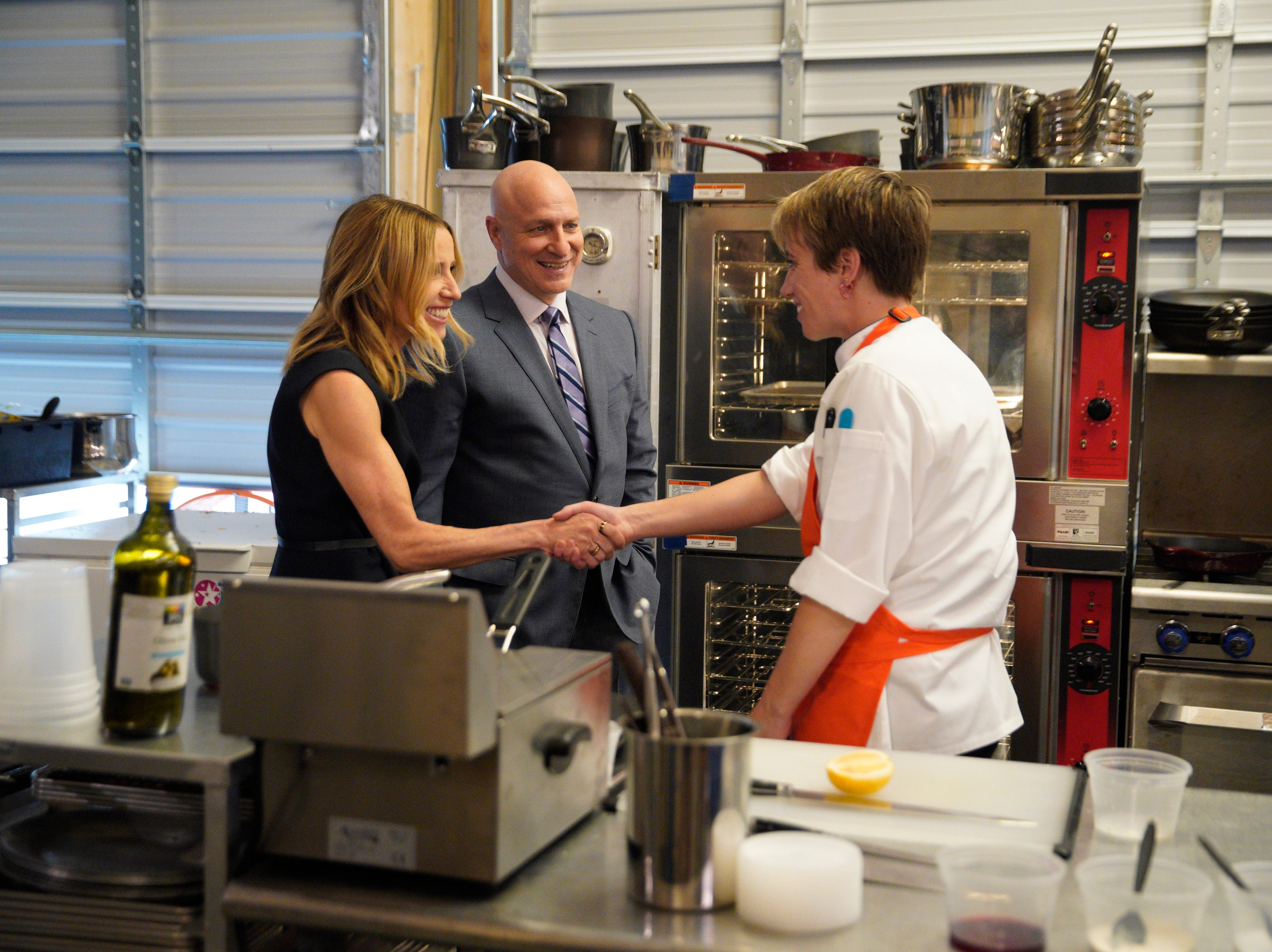 "Contestant Adrienne Wright meets James Beard Award winning restaurateur Caroline Styne and judge Tom Colicchio on episode 4 of Bravo's ""Top Chef"" Kentucky."