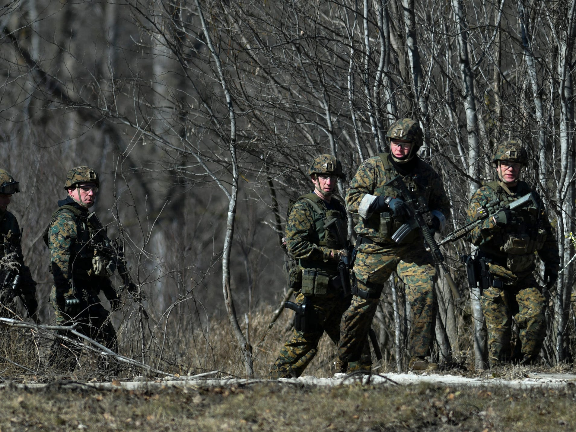 Members of the Michigan State Police ES (Emergency Support) Team search a wooded area on a dead end road near the corner of Oak and Maple in Mt. Pleasant, Friday, March 2, 2018, for a man who shot and killed his parents at a residence hall at Central Michigan University.    James Davis Jr., 19, was taken into custody early Saturday morning after a nearly daylong manhunt.
