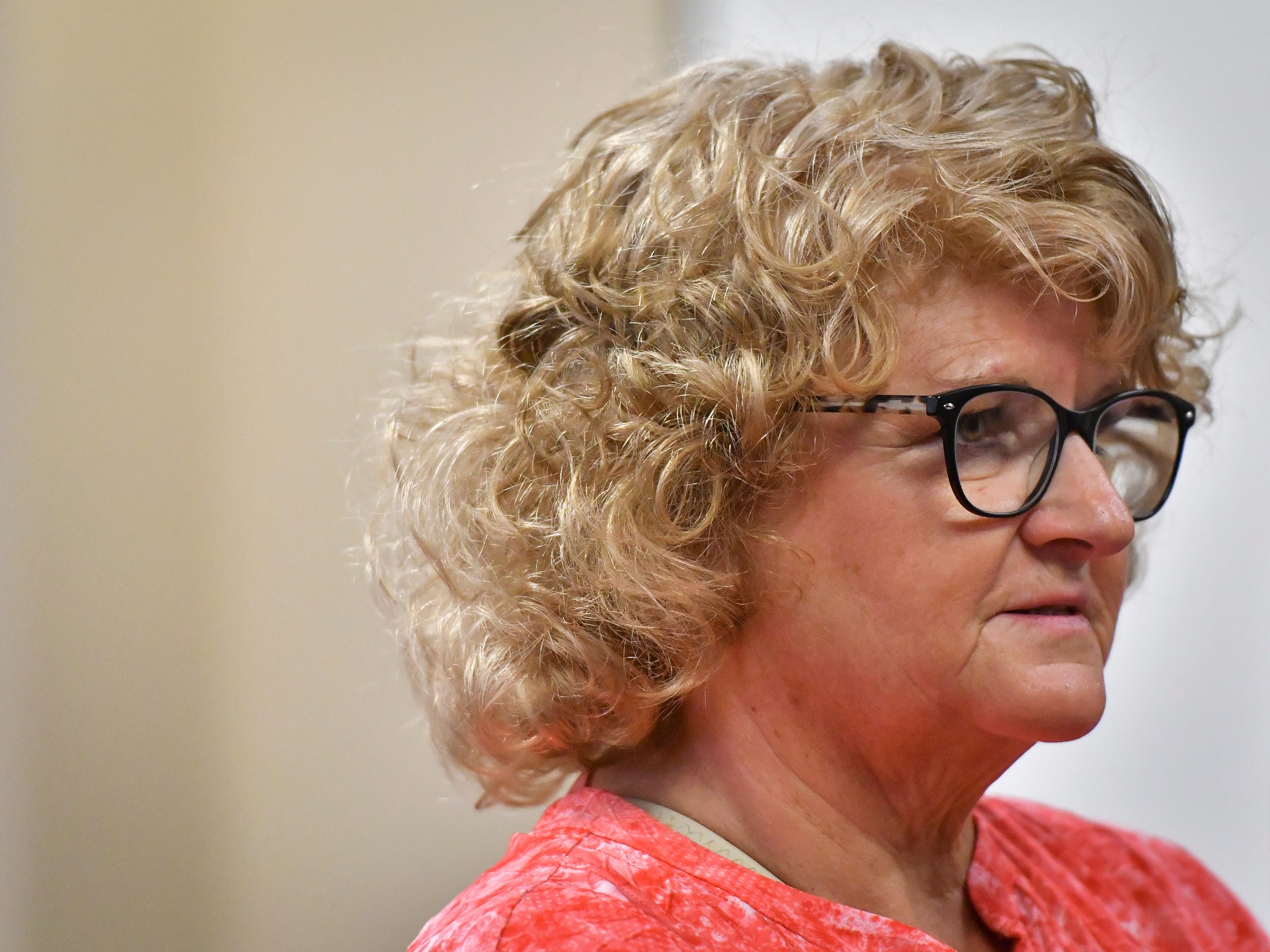 Former MSU Gymnastics Coach Kathie Kleges addresses District Judge Stacia Buchanan on Friday, Sept. 7, 2018, in 54A District Court in downtown Lansing, Michigan.  She has been charged with two counts of lying to a peace officer about her knowledge of ex-MSU and USA Gymnastics doctor Larry Nassar's sexual abuse.