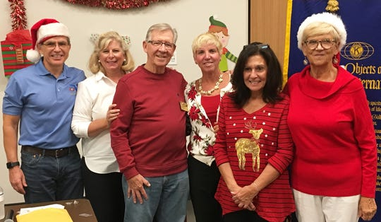 President, Preston Stiner; Membership chair, Diana Dohm;  sponsor, John Coff; new members Lori Larkin and Helen Begley; and sponsor Kathleen Reynolds.