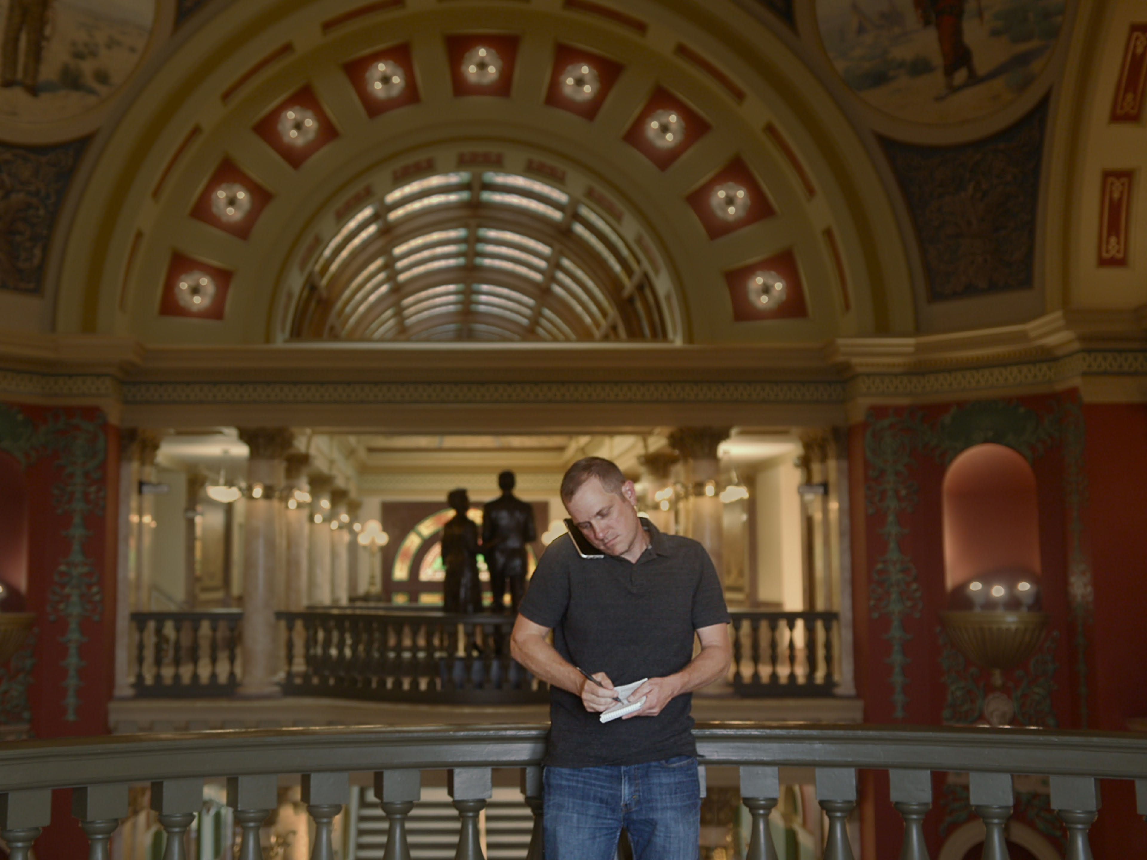 "Reporter John Adams, who grew up in Sturgeon Bay, follows the money pouring into a Montana election in a scene from the documentary ""Dark Money."" The movie also looks at the outside funding that went into several Wisconsin elections."