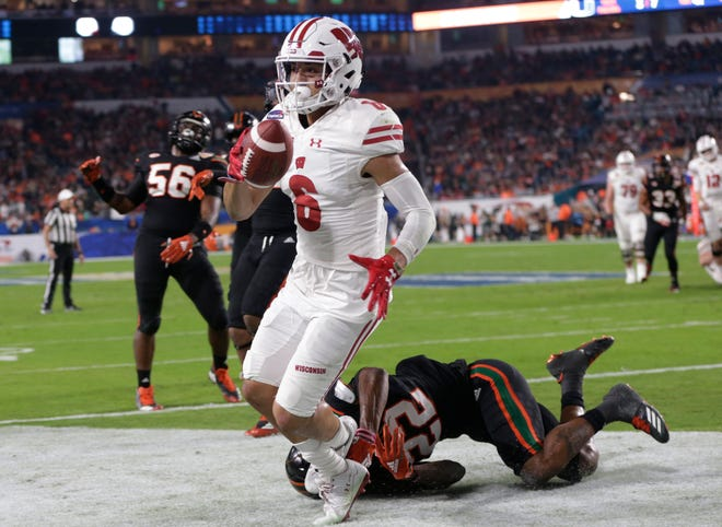 Badgers receiver Danny Davis had three touchdown catches against Miami in the Orange Bowl last year.