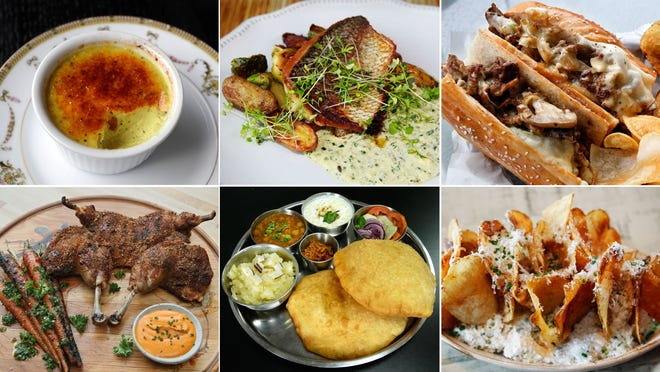 A selection of dishes from Milwaukee's best new restaurants of 2018: Golden milk creme brulee at Strange Town (top row, from left), Pan-seared whitefish from Brandywine, the Milly Philly from Boo-Boo's Sandwiches, open hearth at Birch + Butcher (bottom row, from left), chole bhature from Indian Delight and Chips Toodaloo from Snack Boys.