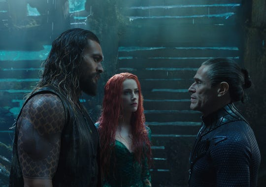 "Aquaman (Jason Momoa, left) and Mera (Amber Heard) get some advice from Vulko (Appleton native Willem Dafoe) in ""Aquaman."""