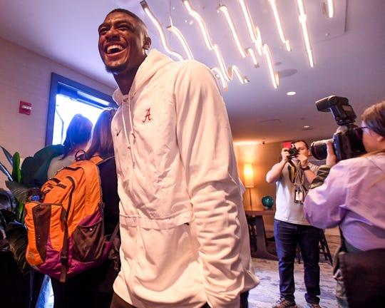 Alabama defensive back Deionte Thompson arrives for an Orange Bowl press conference in Fort Lauderdale, Fla., on Wednesday December 26, 2018.