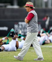 Alabama head coach Nick Saban during Alabama's practice on the Barry University campus in Miami Shores, Fla., on Wednesday December 26, 2018. Alabama plays Oklahoma in the Orange Bowl on Saturday.