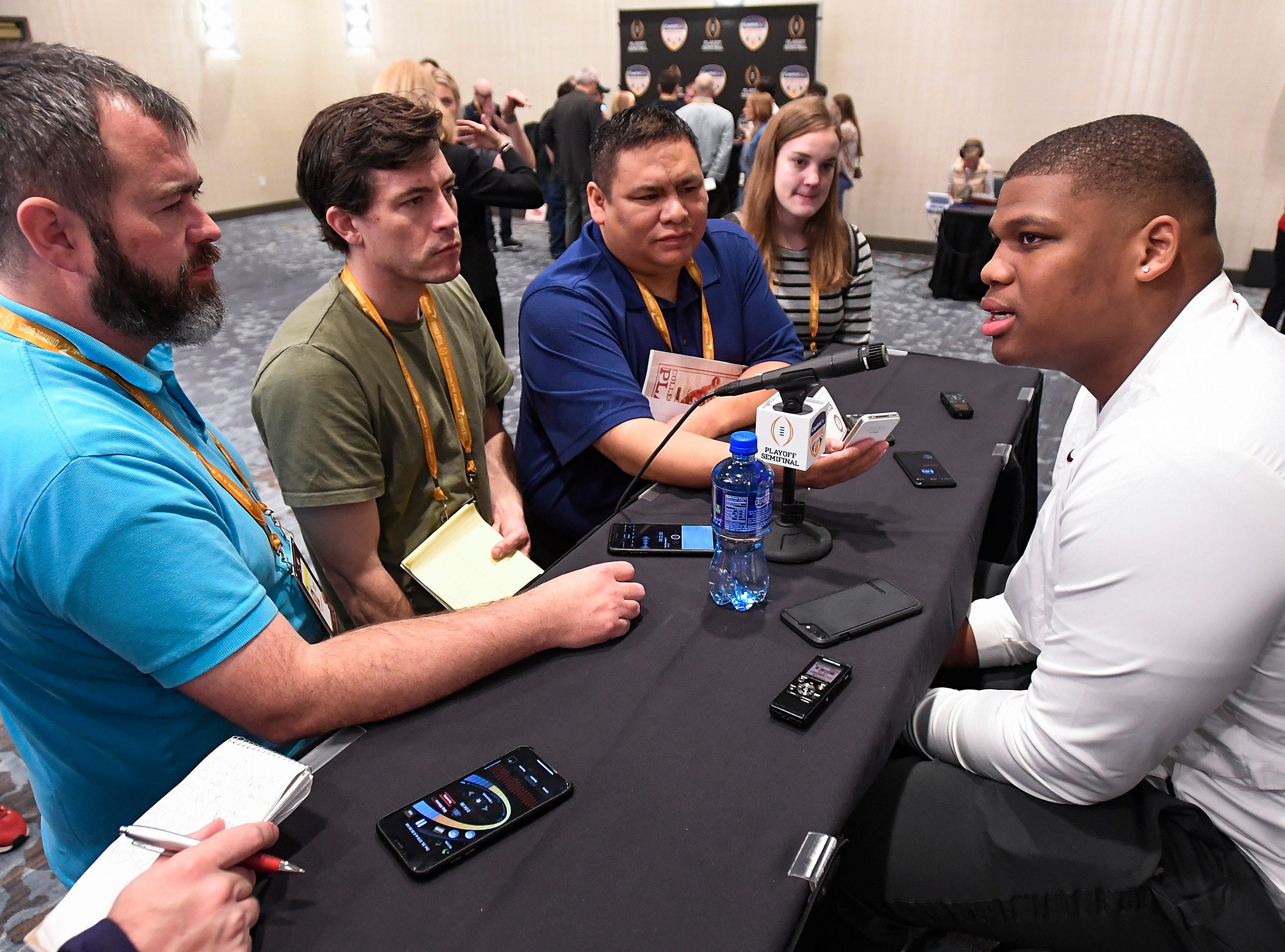 Alabama defensive lineman Quinnen Williams talks with reporters during an Orange Bowl press conference in Fort Lauderdale, Fla., on Wednesday December 26, 2018.