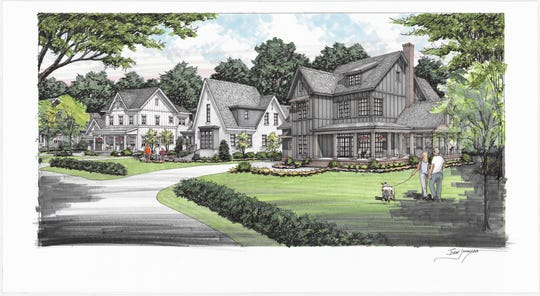 The streetscape rendering for the new Nature's Landing neighborhood shows  larger city homesteads and a blend of Carbine farmhouses and a charming English country style home.