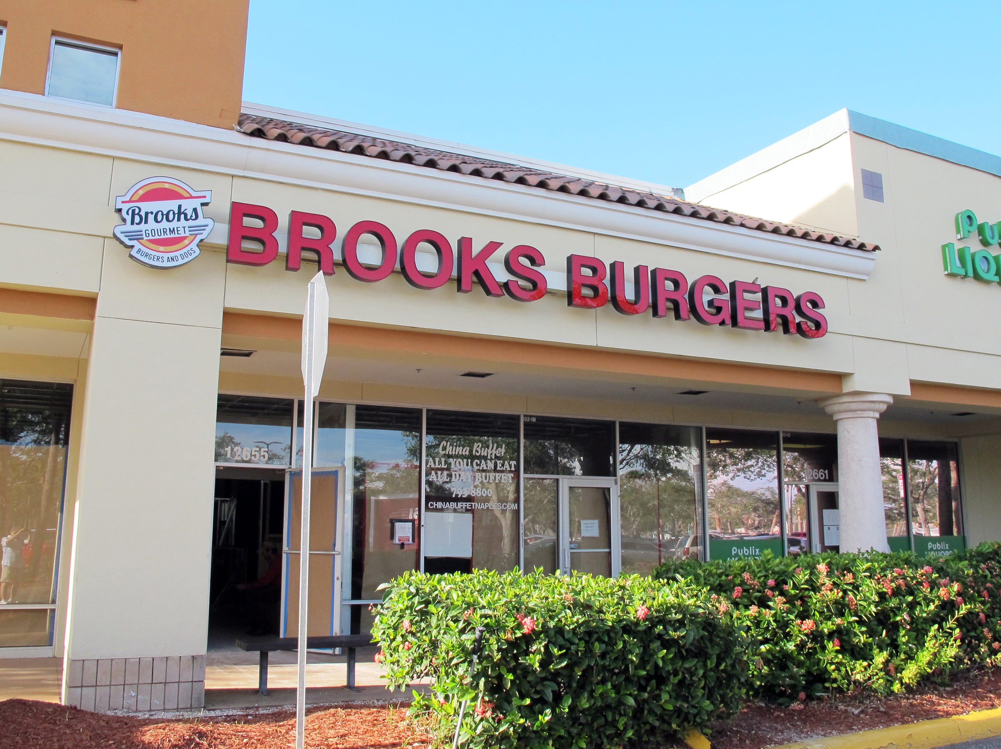 The third Brooks Burgers opened in Februray 2018 in the former spot of China Gourmet on the end of the Publix-anchored Freedom Square shopping center at U.S. 41 East and Collier Boulevard.