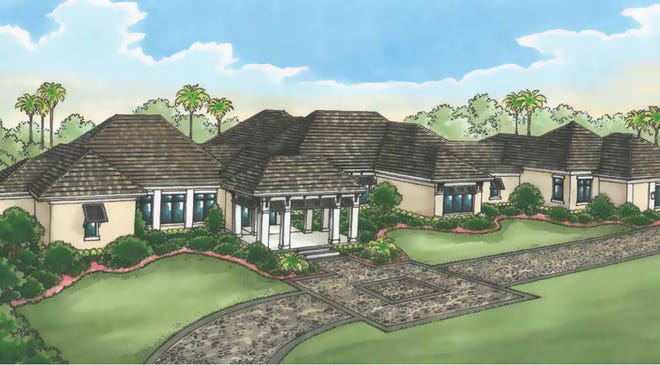 The Ladera model by Diamond Custom Homes offers a lake and golf course view.