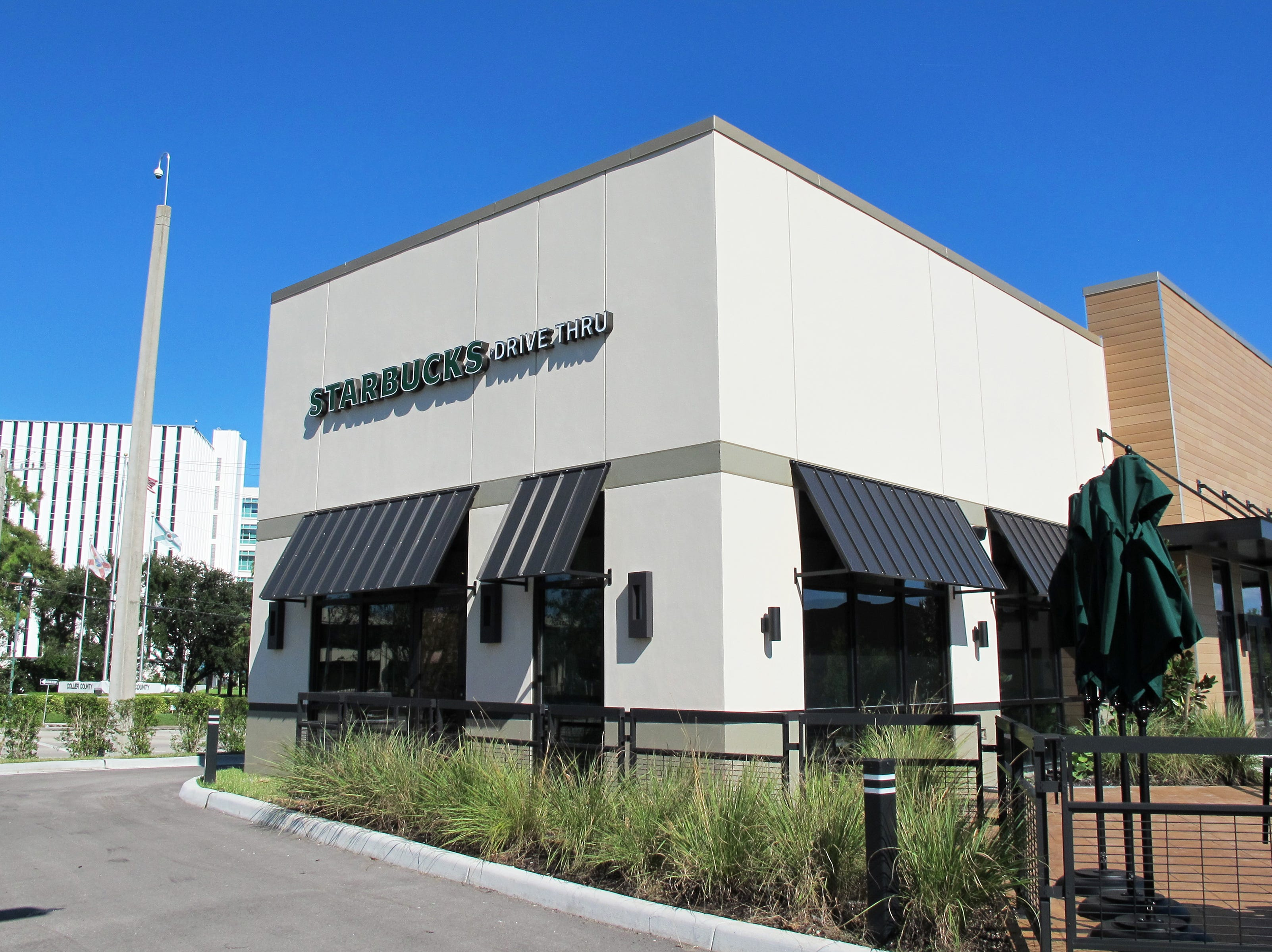 Starbucks opened new freestanding drive-thru locations in October 2018, above, across from the Collier County Government Center at Airport-Pulling Road and U.S. 41 in East Naples as well as in April near Park Shore Plaza in Naples. The coffeeshop chain also opened a store in July inside Publix supermarket at Naples Plaza.