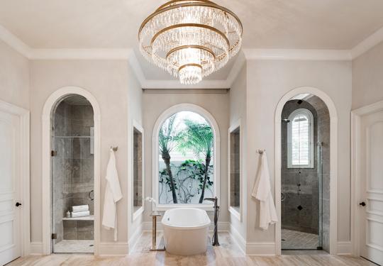 Harwick turned the existing master bath into a spa-like oasis.