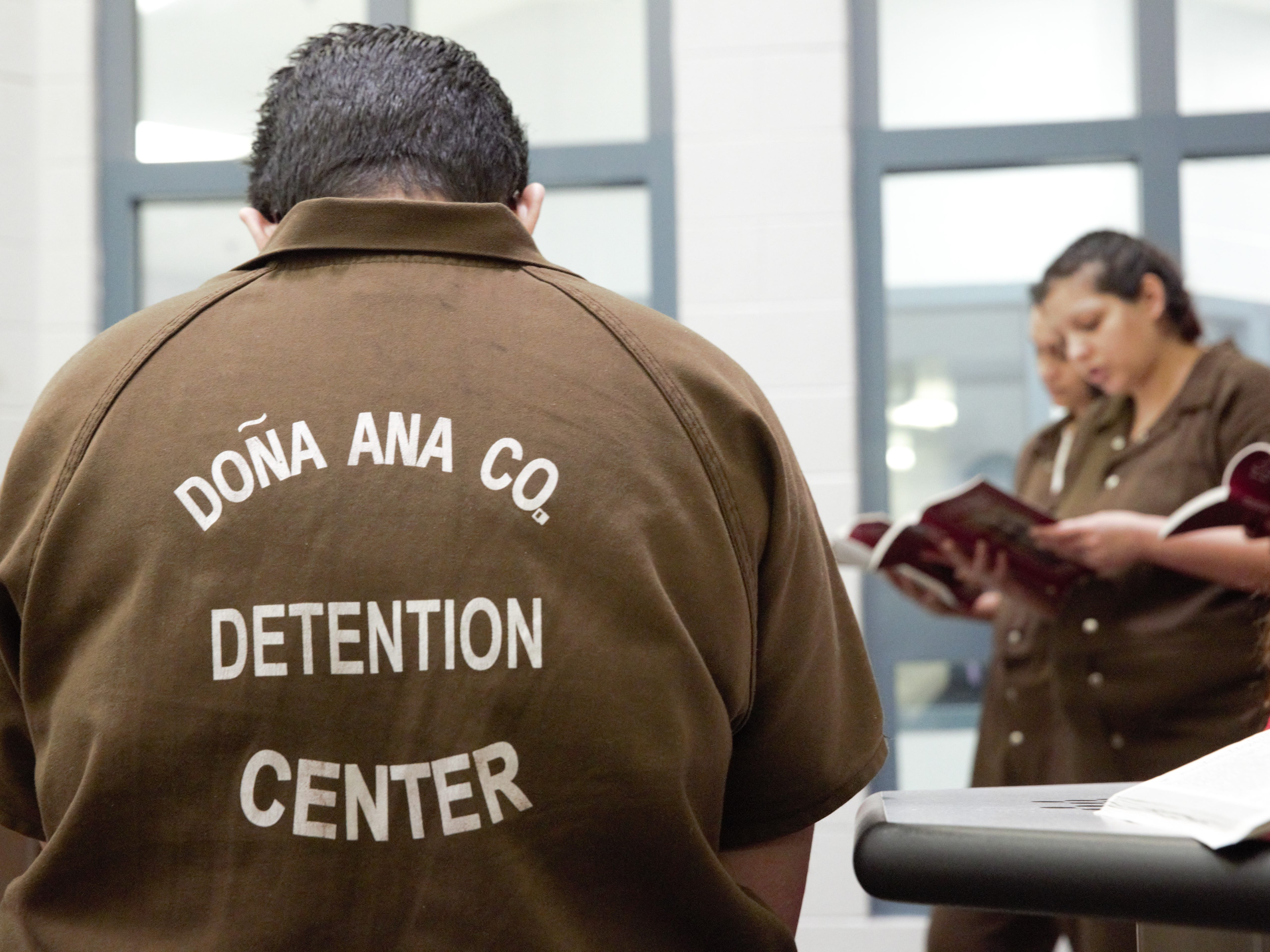 Inmates in a unit in the Doña Ana County Detention Center celebrate a Christmas Mass on Dec. 25, 2018.