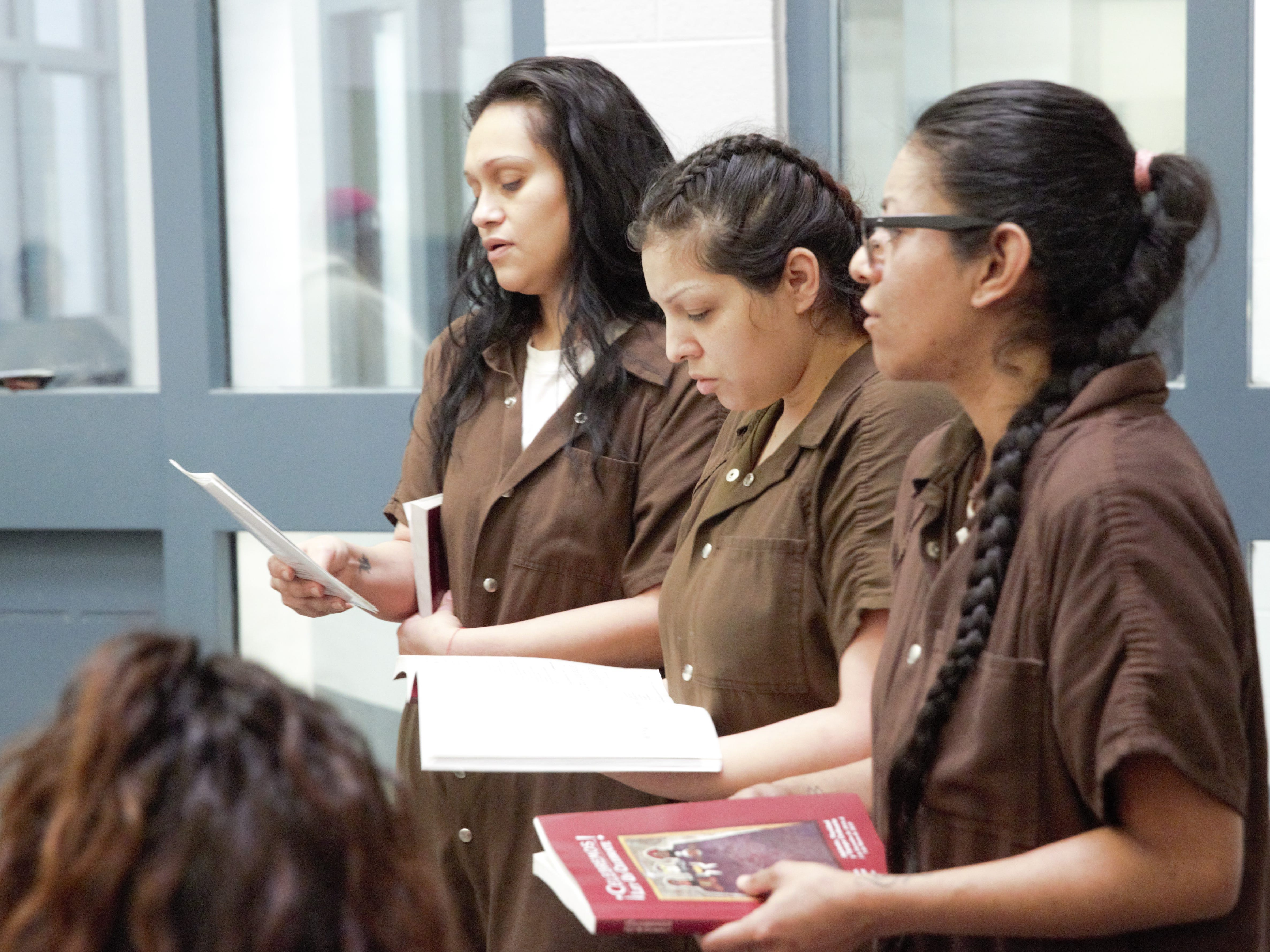 Inmates participate in a Christmas Day service on Tuesday, Dec. 25, 2018 at the Doña Ana County Detention Center, 1850 Copper Loop, Las Cruces.