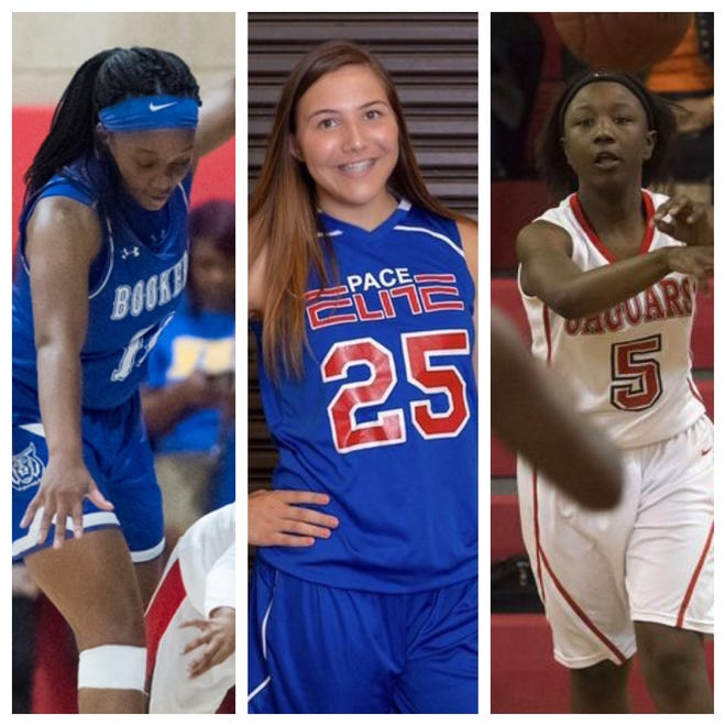 PNJ Girls Basketball Player of the Week nominees Booker T. Washington's Janelle Jones (left), Pace's Violette Skipowrth (center) and West Florida's Khadija Chamblees (right).