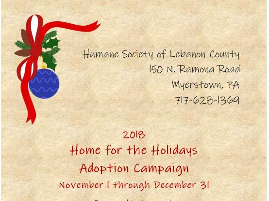 The Humane Society of Lebanon County has a goal of getting 150 animals adopted by the end of December