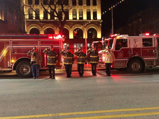 Members of York City's Dept. of Fire/Rescue Services were just one of a number of local fire and ambulance departments and companies to participate in honoring Robert Kohler Sr. of Northeastern Area EMS, who died on duty Christmas Day 2018. They stood at attention as his body was driven from York Hospital to a Manchester funeral home.