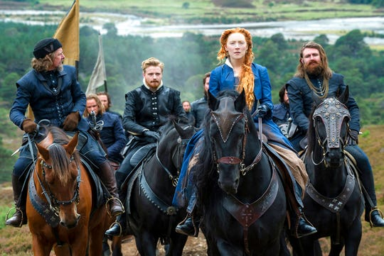 "From left, Ian Hart as Lord Maitland, Jack Lowden as Lord Darnley, Saoirse Ronan as Mary Stuart and James McArdle as Earl of Morayin  ""Mary Queen of Scots."" The movie opens Friday, Dec. 28, at R/C Hanover Movies."