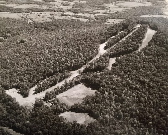 An aerial view of Ski Roundtop in York County, Pa.