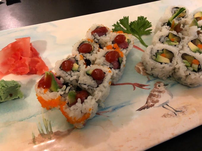 Spicy tuna roll, left, and veggie roll at Bonsai Sushi Fusion in South Redding.