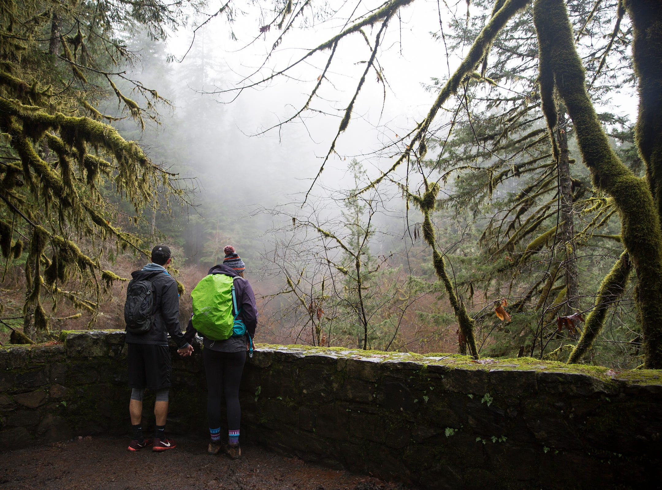 Hikers take in the view at Silver Falls State Park in Sublimity on Wednesday, Dec. 26, 2018.
