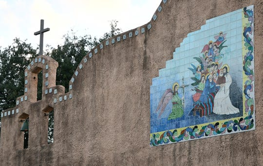 A detail of the Lady in Blue mural at St. Joseph Church, at 301 W. 17th St., in San Angelo.