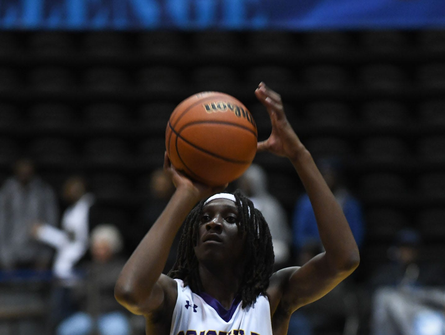 Crisfield's CorTrey Fontaine with the foul shot against Dunbar on Thursday, Dec. 26, 2018 during the Governor's Challenge in Salisbury, Md.