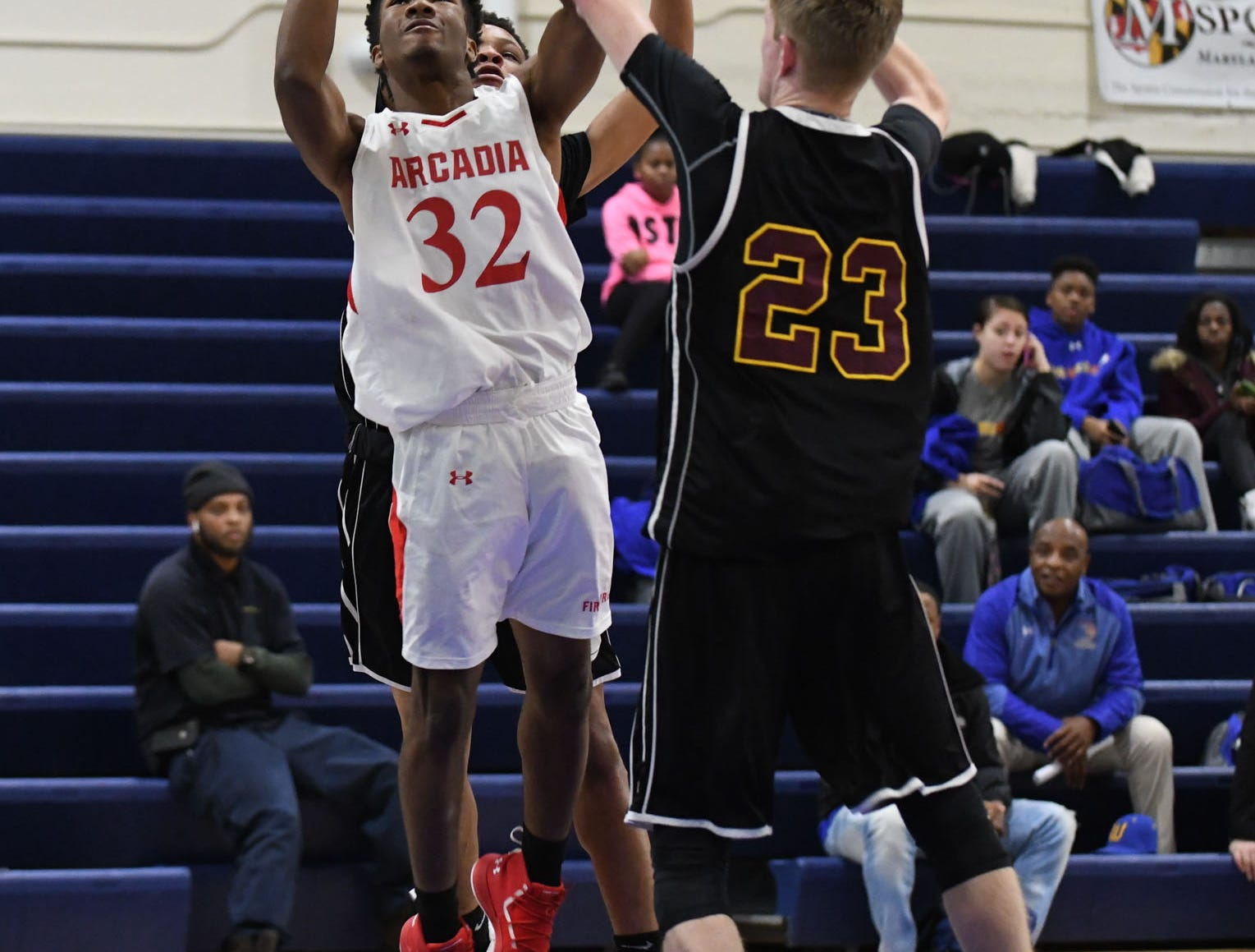 Arcadia's Tevin Bunting with the jumper against Washington High School on Wednesday, Dec. 26, 2018 during the Governors Challenge in Salisbury, Md.