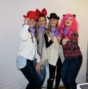 "Clowning around for a photo op at ""Holiday Hoedown"": Lily Huggs, Grace Poimboeuf, Molly Bowman, Anne Evans."