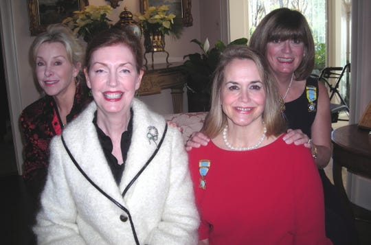 Maura Pugh, Lauren Florsheim, Ellen Alley and Karin Barro at a  Christmas Coffee Dec. 21 at Barro's home. The holiday affair  was hosted by Shreveport Committee of the National Society of the Colonial Dames of America and Friends of the Spring Street Museum.