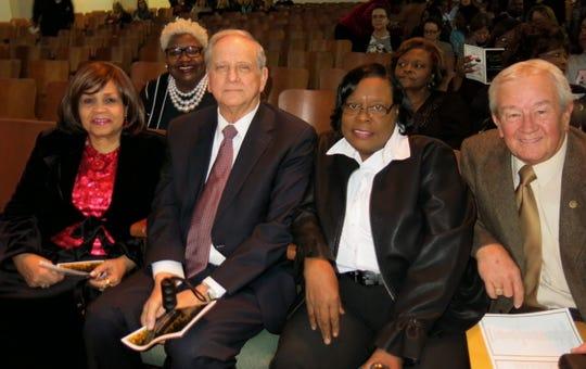 "Caddo School Board members at ""Caddo Celebration"": Dr. Bonita Douzart, Mary Trammel, John Lloyd Albritton, Dotte Bell, School Board President Steve Riall."