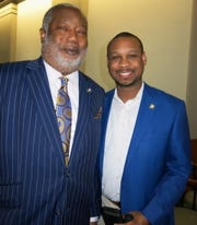 "Caddo Dist. Atty James Stewart and Shreveport City Atty. William Bradford Jr. at ""Caddo Celebration."""