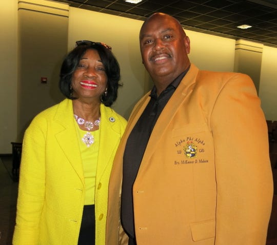 "State Rep. Barbara Norton and McKeever Moham at Caddo School Supt. Lamar Goree's ""Caddo Celebration ."""
