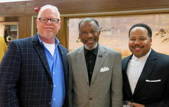 "New Caddo School Board member Tony Nations, SRAC President Henry Price, Dr. Jeremy Alexander at ""Caddo Celebration."""