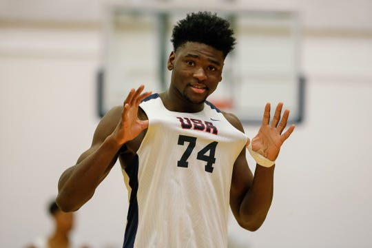 USA Men's Junior National Team participant Isaiah Stewart (74) during minicamp at the U.S. Olympic Training Center in October.