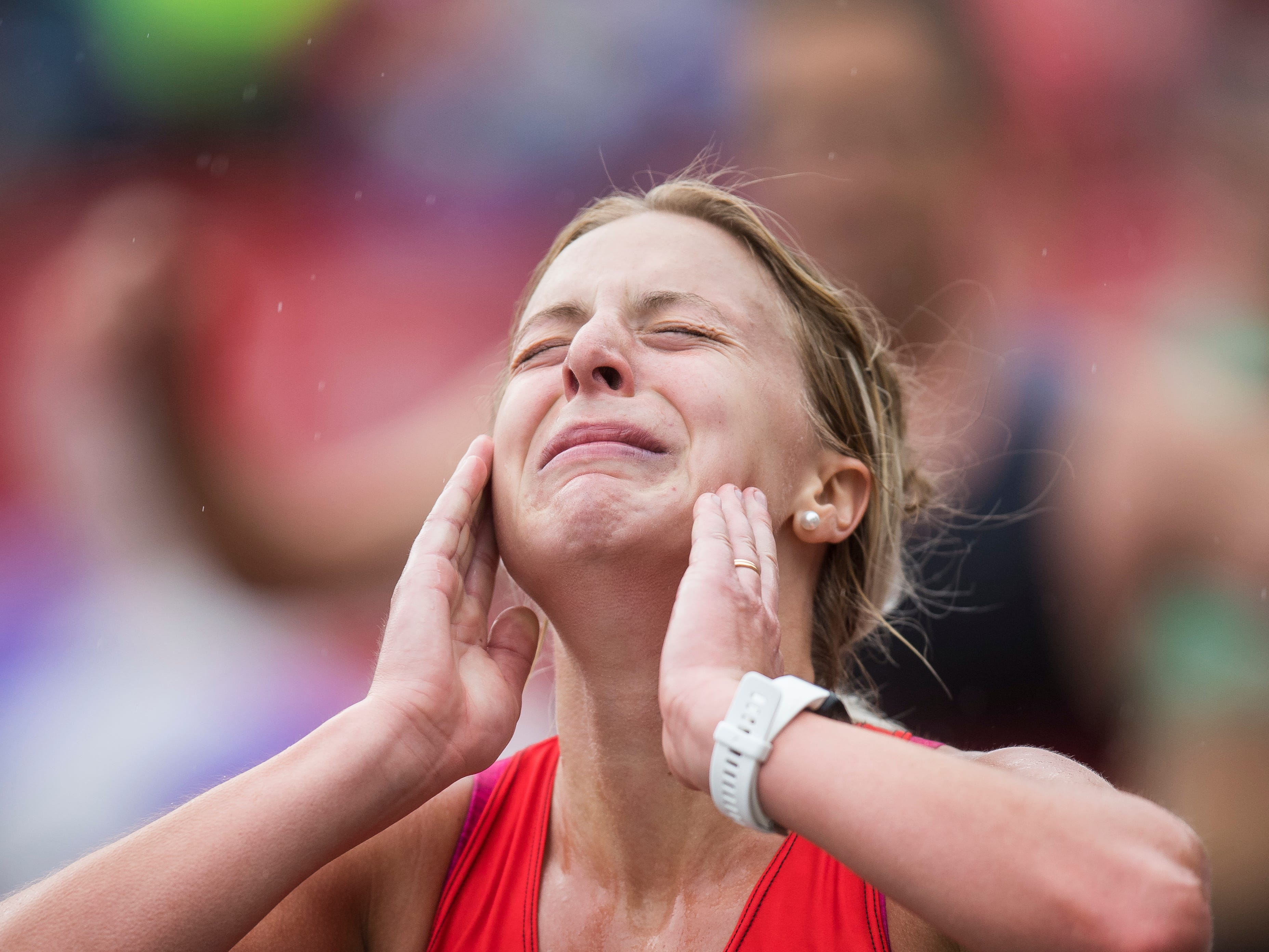 Madeleine Reber finishes the St. George Marathon Saturday, October 6, 2018.