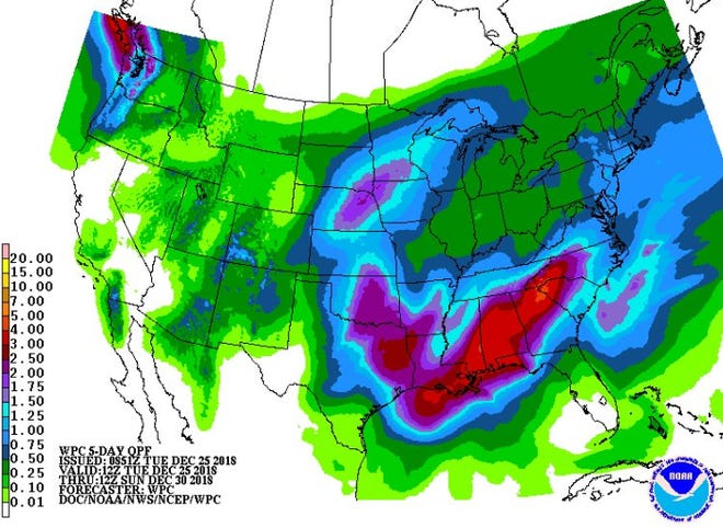 Chances of rain are in the forecast for Thursday through early next week.