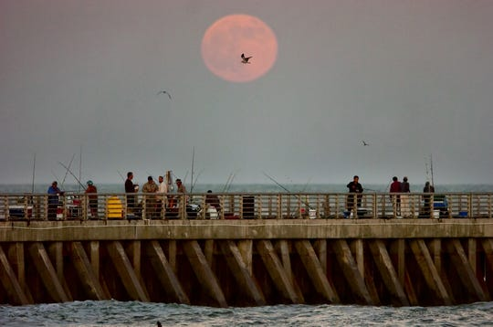 November 10, 2011 - This November full moon, also known as the Beaver Moon or Frosty Moon, rises above the North Jetty at Sebastian Inlet State Park shortly after sunset.