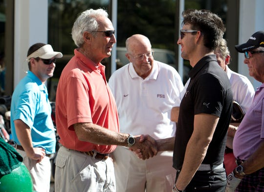 December 12, 2015 - Former Dodger pitcher Sandy Koufax (left) meets Jake Owen on the first day of the Grapefruit Pro-Am at the Vero Beach Country Club.