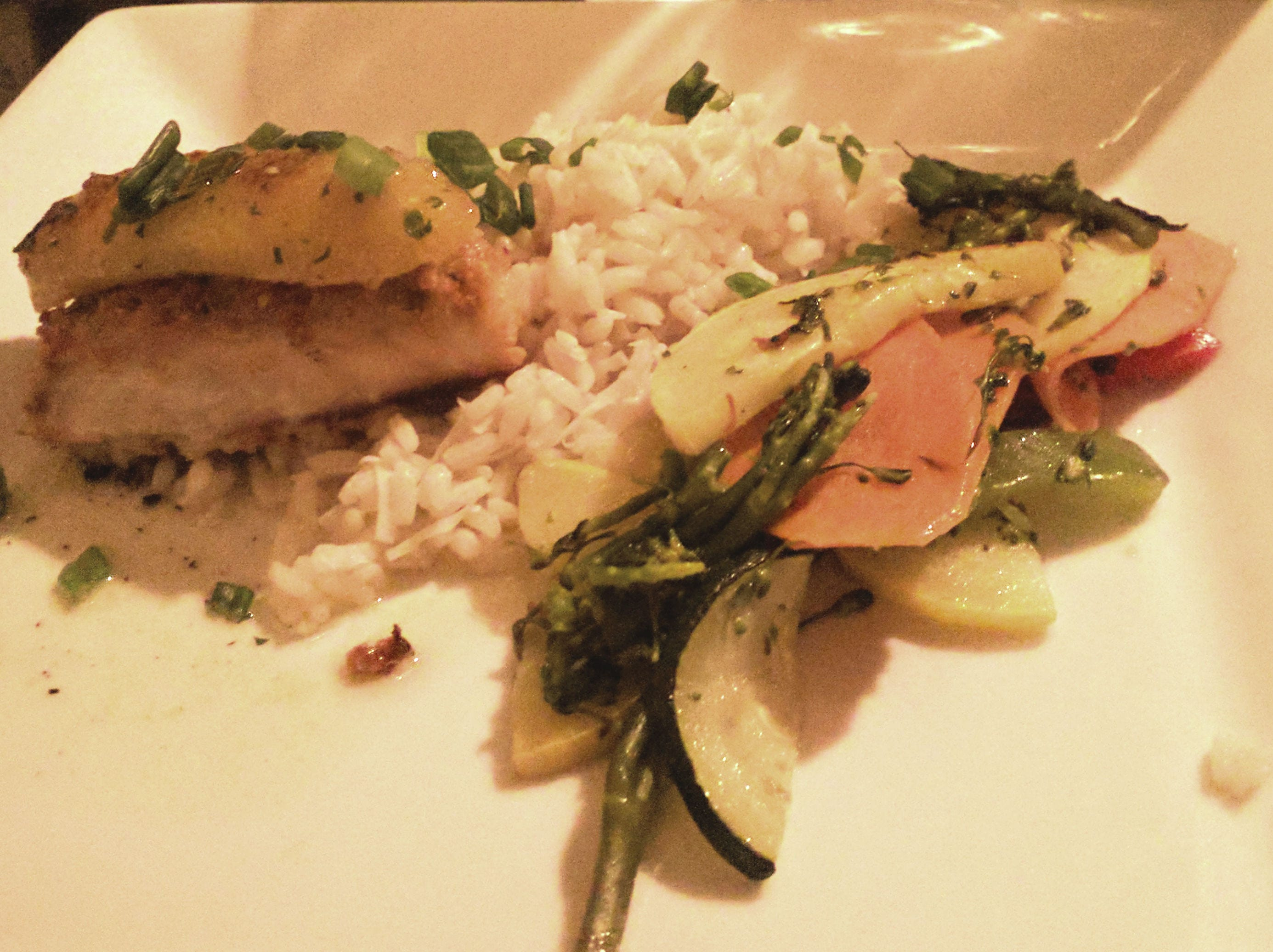 Havana Nights' half portion of mahi  with white rice and a carrot, asparagus and zucchini medley.