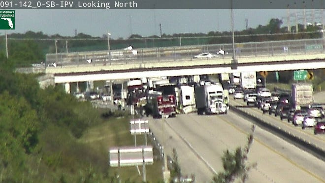 A crash on the Turnpike near Port Saint Lucie has all southbound lanes blocked.