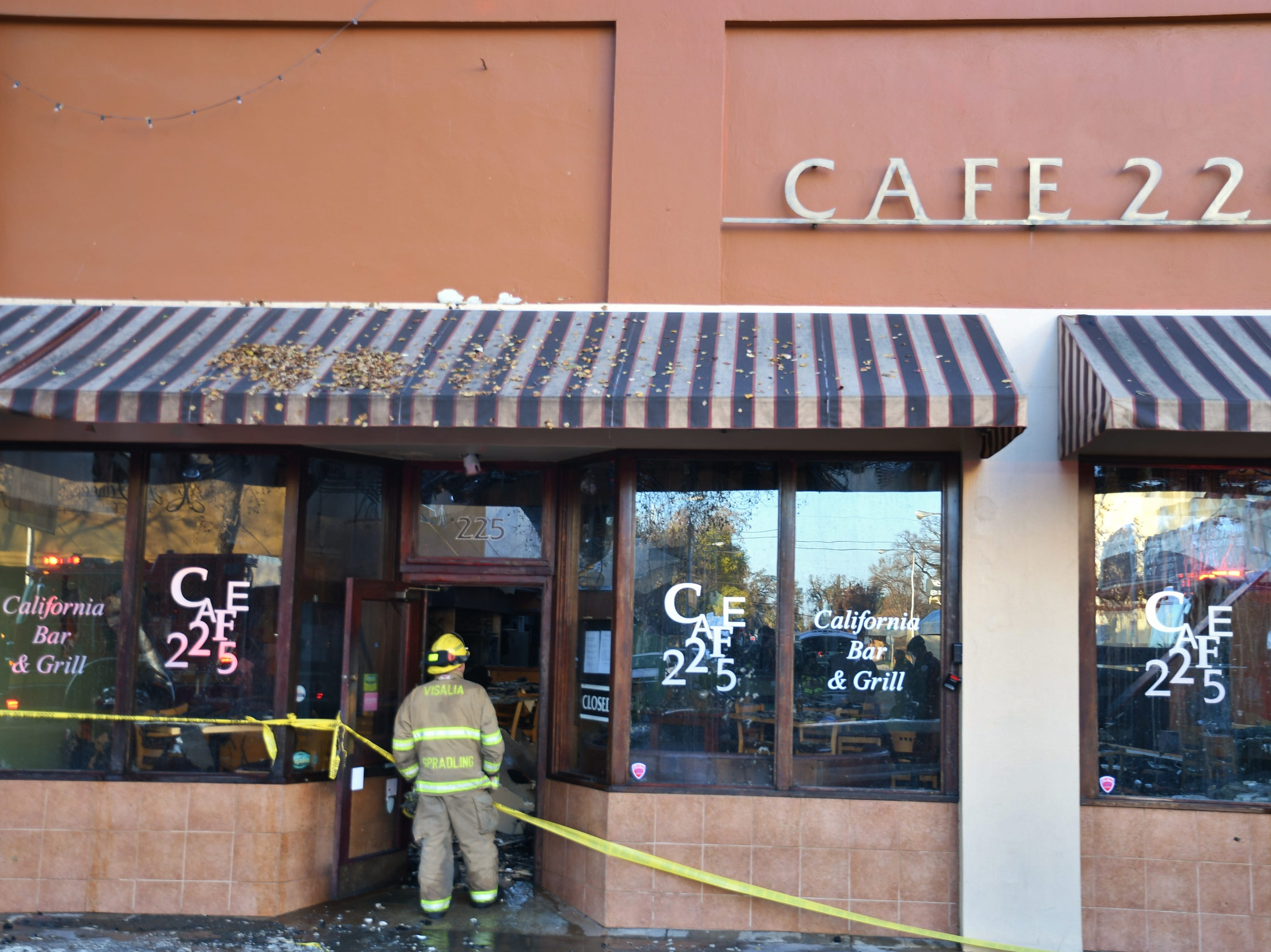 Four downtown businesses were damaged in the three-alarm fire, including Cafe 225 and Mama K's Diner. Neighboring businesses Exotica and Acapulco Jewelers and Little Italy were also damaged.