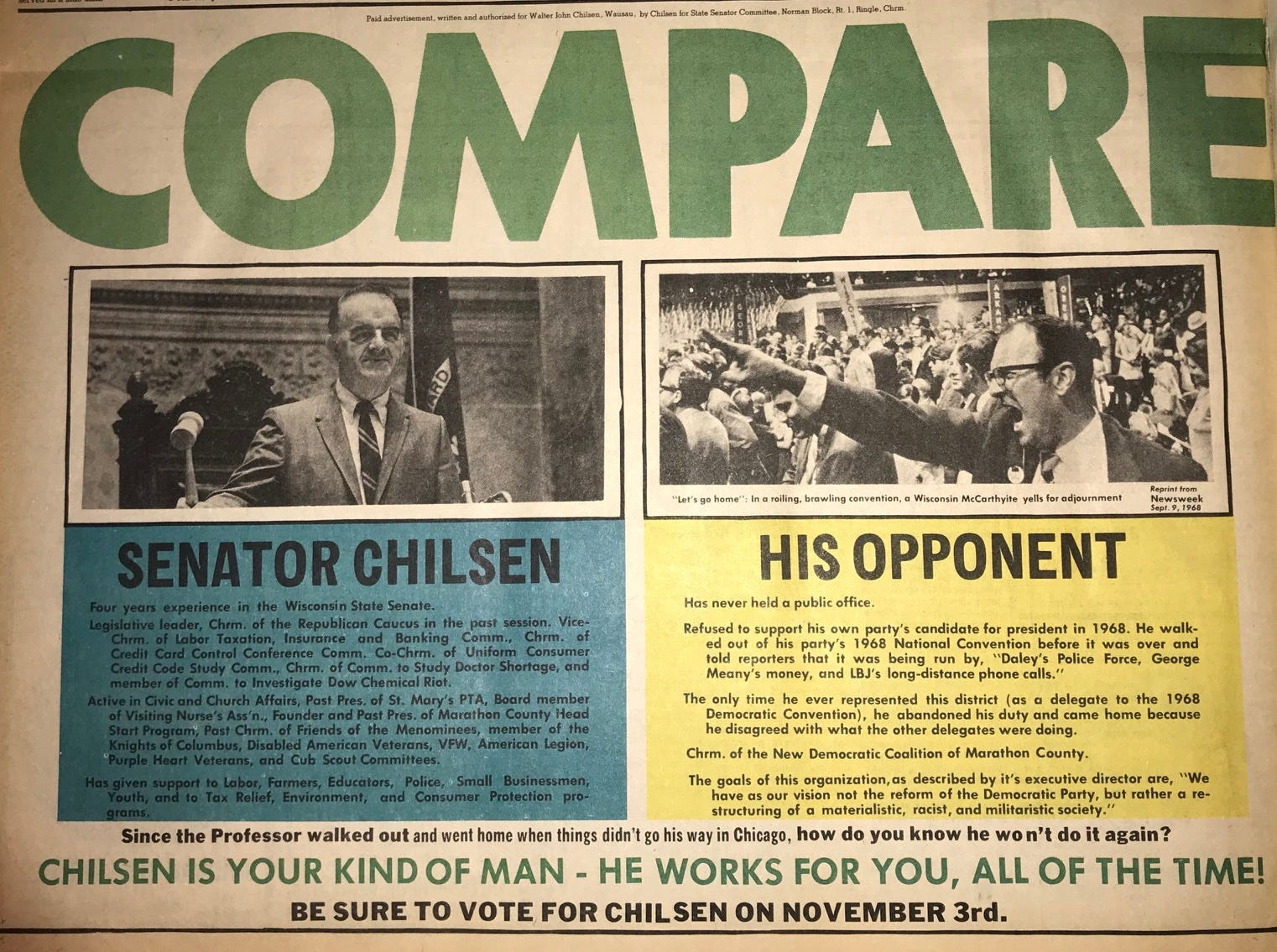 A newspaper ad that ran in October 1970 in the Wausau Daily Record-Herald promoted Walter John Chilsen's re-election to the state Senate.