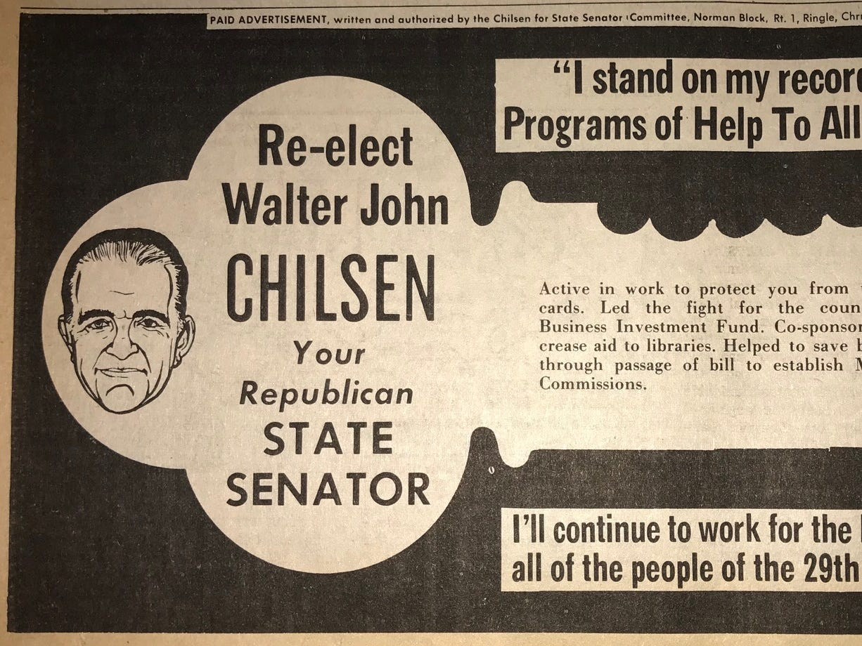 An ad promoting Walter John Chilsen's record as a state senator ran in October 1970 in the Wausau Daily Record-Herald.