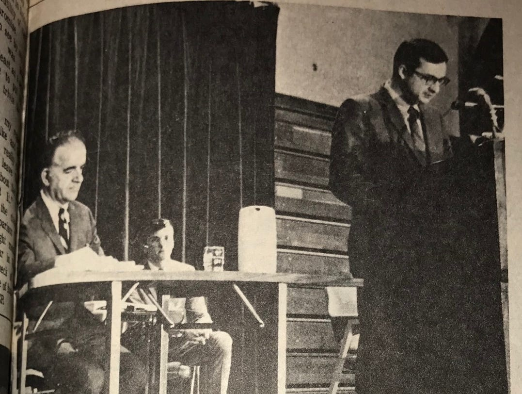 A photo from the debate between Republican Walter John Chilsen and Democrat Dave Obey ran in March 1969, ahead of the 1969 special election won by Obey, who would go on to serve more than four decades.