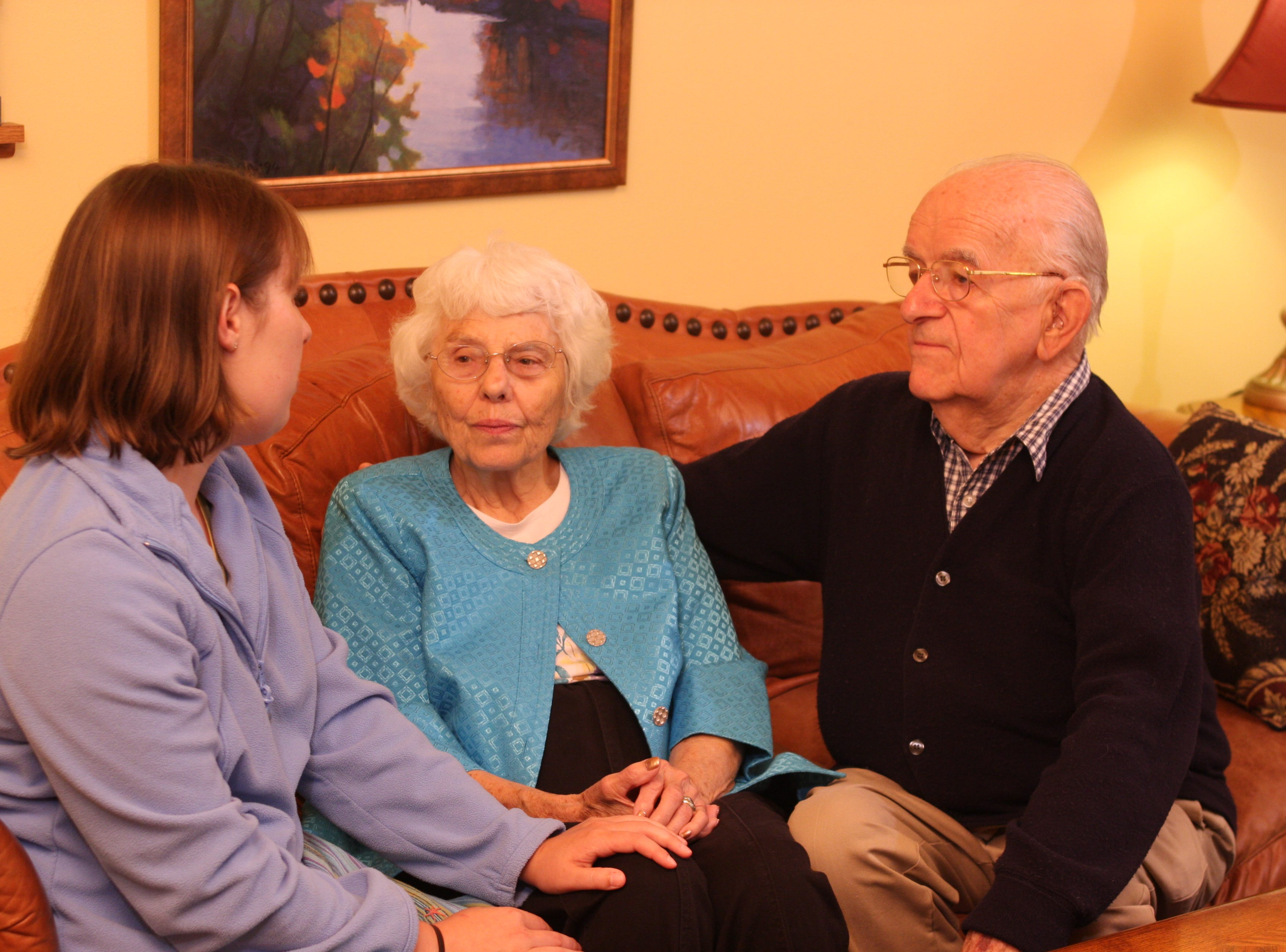 Katie Straub, left, Rose Chilsen and Walter John Chilsen pose for a photo for Ministry Home Care Hospice Services.