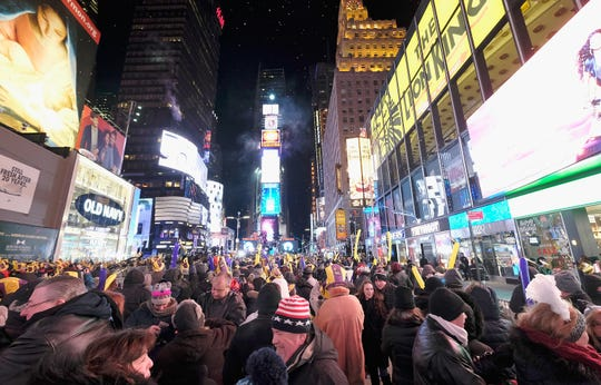 New Year's Eve in Times Square in New York City. (Photo by Dimitrios Kambouris/Getty Images)